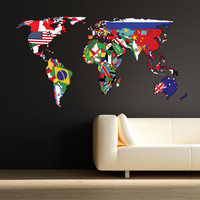 Full Colour World Map Atlas Office Bedroom Wall Art Sticker Decal Mural Transfer Wall Stickers