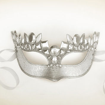 Pure Silver Masquerade Mask - Brocade Fabric Covered Venetian Mask Decorated With Large Acrylic Gems - Silver Masquerade Ball Mask