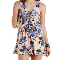 Peach Combo Floral Print Lace-Up Front Romper by Charlotte Russe