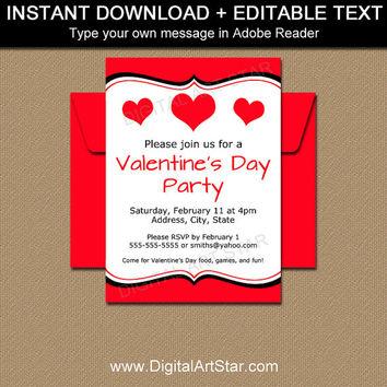 Valentine Invitations - Valentines Day Invitation Template - EDITABLE School Valentines Day Party Invitation - INSTANT DOWNLOAD Invites V6