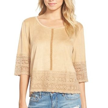 Junior Women's Ten Sixty Sherman Crochet Trim Faux Suede Top,