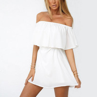 White Off Shoulder Layered Mini Dress