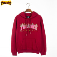 Thrasher Autumn And Winter New fashion bust flame letter print women men leisure hooded long sleeve sweater top Red