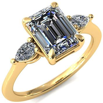 Robyn Emerald Moissanite 4 Claw Prong 2 Rail Basket Pear Sidestones Inverted Cathedral Engagement Ring