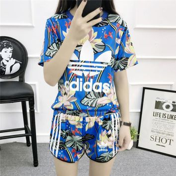 """Adidas"" Women Sports Casual Multicolor Lotus Pattern Print Short Sleeve Shorts Set Tw"