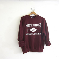vintage Rockridge Cheerleader sweatshirt. Burgandy sweatshirt. slouchy sweatshirt.