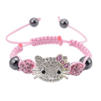 Handmade Cute Children Cat Hello Kitty Bracelet for Kids Girls Boys Shamballa Beads Connected Braid Charm bracelet Jewelry