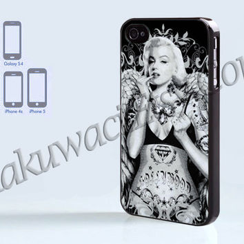 Marilyn Monroe Tattoo Angel - iPhone 4 case - iPhone 4S case - Samsung Galaxy S3/S4 - iPhone case - Hard Plastic - Case Soft Rubber Case