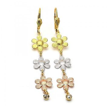 Gold Layered 5.090.006 Long Earring, Flower Design, with White Cubic Zirconia, Diamond Cutting Finish, Tri Tone