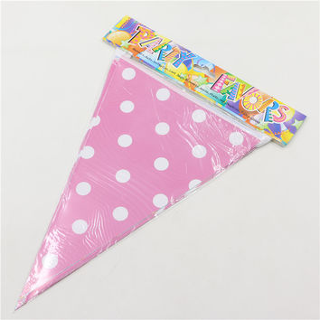 2.5m handmade Polka Dot Blue Pink Party Bunting Flags Banners Pennants Outdoor Decoration 1 set including 10 small flags 0225
