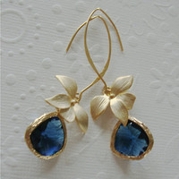 Vermeil Gold dangle earrings Fall fashion Framed sapphire glass on long marquise earrings Blue Bridesmaid drop earrings gifts,