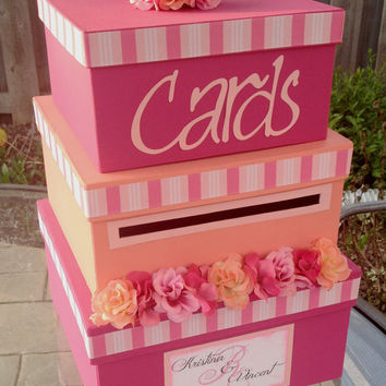 Custom Wedding Card Box / 3 Tier / Square Card Box / Pink and Coral / Fuchsia and Light Pink / Wedding Decor