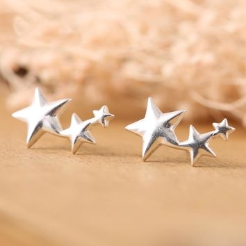 925 Sterling Silver Three Stars Stud Earrings For Women Fashion Girl Prevent Allergy Sterling-silver-jewelry