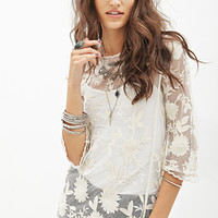FOREVER 21 Embroidered Mesh Top Cream