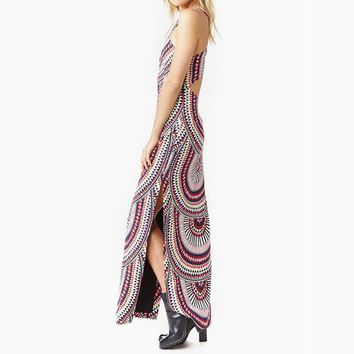 Boho Sexy Sleeveless Off Shoulder Back Vintage Pattern Print Long Maxi Dress