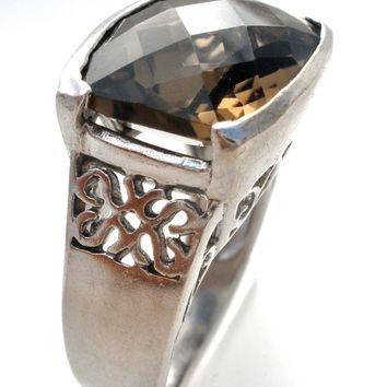 Smoky Quartz Sterling Silver Ring Size 6.5