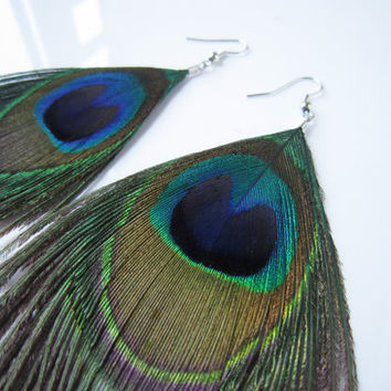 Simple Peacock Earrings,Folk style exotic luxury peacock eye feather,perfect for almost any occasion.