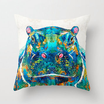 Throw Pillow Colorful Hippo Art Design COVER Home Sofa Bed Chair Couch Decor Hippopotamus Artsy Living Room Bedroom Zoo Nursery Cute Animal