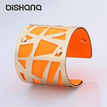 Color rubber bracelets Indian Jewelry out Big Alloy PU Leather Fashion Hollow Bangles Good friends gifts and Bracelets(xs0012)