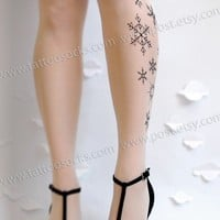 Large/Extra Large sexy and elegant SNOW QUEEN TATTOO stockings full length pantyhose Ultra Pale