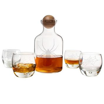 Personalized Toxic Spider Glass Decanter with Wood Stopper Set