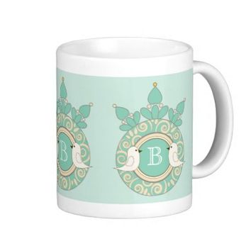 Retro-Style Cute White Birds Personalized Unique Coffee Cups: Gift Idea for Her Birthday, Mother's Day, Wedding, or Anniversaries