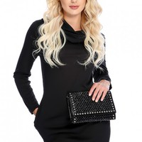 Sexy Black Long Sleeve Cowl Neck Side Pockets Casual Dress