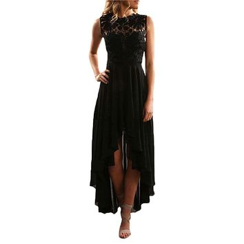 Black Floral Lace Bodice High-low Prom Dress