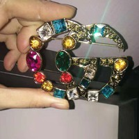 GUCCI Hot Sale New Fashion Colorful Diamond Brooch Women Earrings Bracelet Necklace Accessories Jewelry