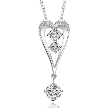 Heart Gem Drop Silver Necklace