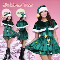 Women Christmas Tree Clothes Fashion Velvet Shawl Mini Dress Cosplay Party Uniform