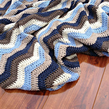 "ON SALE - Hand Crocheted Blanket Pure Australian Wool ""Boy's Germs"" Ripple Afghan - Size Square"