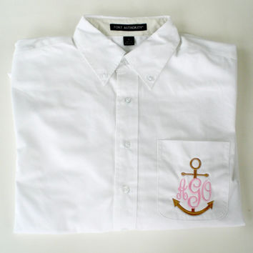 Anchor Monogram Oversized Button Down Oxford Shirt Wedding Party Gift Under 40 Dollars