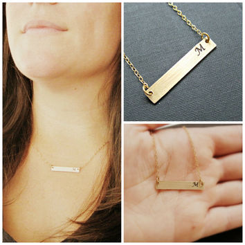 Gold Bar Necklace Monogram Necklace Personalized Gifts Initial necklace Engraved necklace