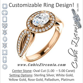 Cubic Zirconia Engagement Ring- The Jordyn Elitza (Customizable Halo-Style Oval Cut with Twisting Pavé Split-Shank)