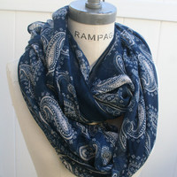 Blue Infinity Scarf Paisley Scarf Winter Scarves Womens Scarves Gifts for Best Friends - By PiYOYOInfin