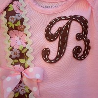 Baby Girl Boysuit Accented With Initial And Beautiful Ribbon. Newborn To Toddler Sizes.