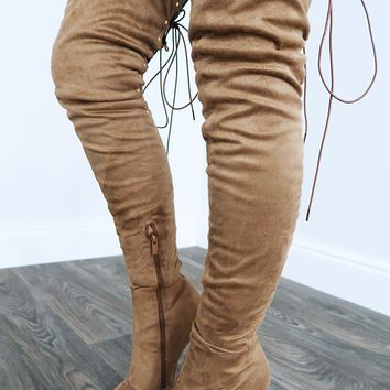 String Me Along Boots: Taupe