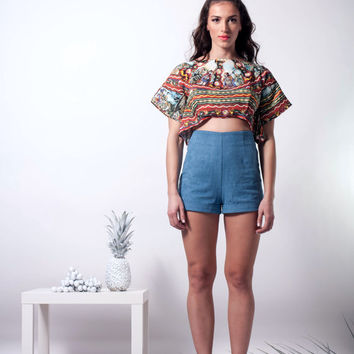 knights crop top, short crop top, limited edition, crop top with boxy kimono sleeves