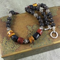 Handmade Tiger's Eye Necklace Lava Rhodium Beads Jewerly OOAK Unisex