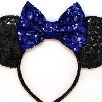 Black Sequin Ears and Royal Blue Bow