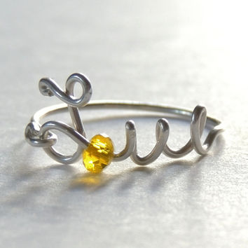 uppercase love wire ring - yellow crystal faceted  reduced price-love word- script-italics-writing