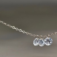 Three Round Brilliant Diamonds Necklace