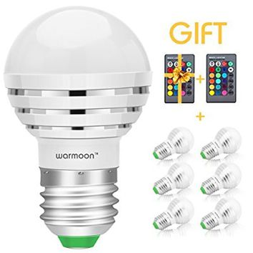 Warmoon E26/E27 LED Bulbs,3W RGB Color Changing Mood Ambiance LED Lamp Dimmable with IR Remote Control (Pack of 6)