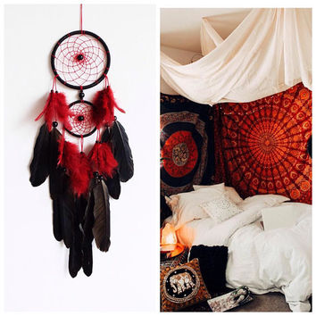 Dream Catcher, Boho Dreamcatcher, Black Dreamcatcher, Native American, Boho Wall Hanging, Red Home Decor, Feathers, Shaman, Boho Chic
