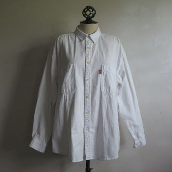 Vintage 90s White Jean Shirt Levi Strauss Red Tab 1990s Cotton Gabardine Denim Mens Shirt XL