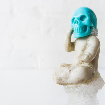 20% SALE - Cheeky Skull Doll Bottle Real Turquoise Stone Antique German Bisque Doll