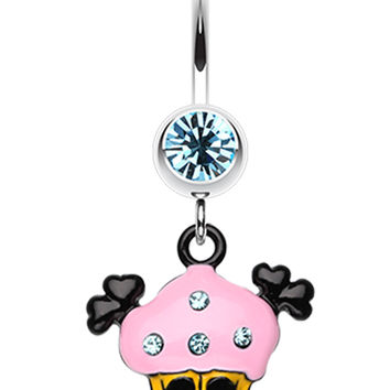 Pirate Crossbones Cupcake Belly Button Ring