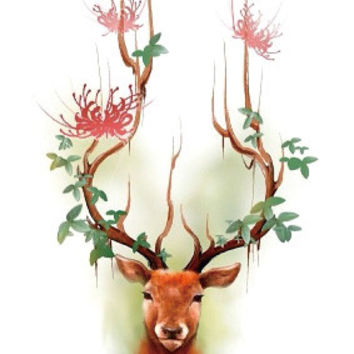 RC2316 Waterproof Tattoos Sticker Color Sika Red Deer Pattern Temporary Tattoo Stickers Body Art Flash Tattoo Foil taty