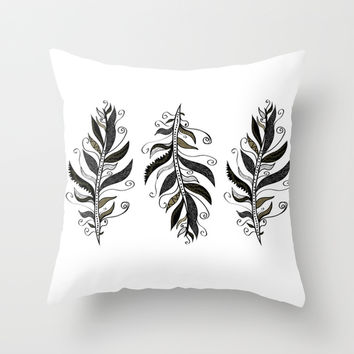TRIBAL FEATHERS Throw Pillow by Nika | Society6